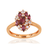 Bague or rose 375 grenats et diamants