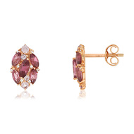Boucles d'oreilles or rose 375 grenats diamants