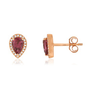 Boucles d'oreilles or rose 375 grenats rhodolites diamants
