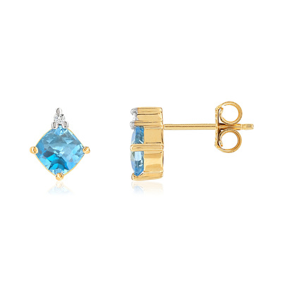 Boucles d'oreilles or 375 topazes diamants - vue V1