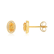 Boucles d'oreilles or 375 grenats diamants