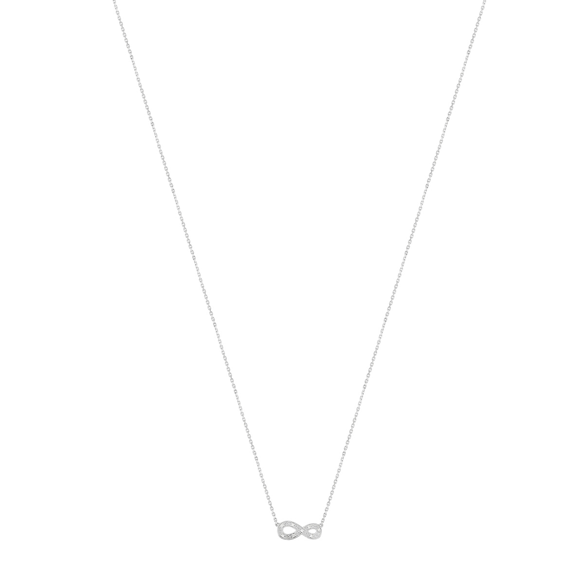 Collier or blanc 375 diamants 42 cm - vue V1