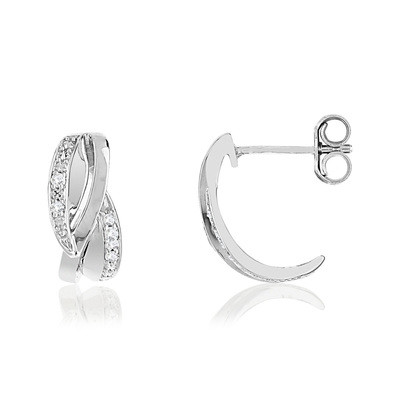 Boucles d'oreilles or blanc 375 diamants - vue V1