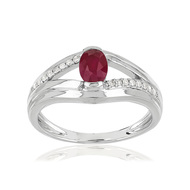 Bague or blanc 375 rubis diamant