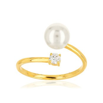 Bague or jaune 375 perle de culture de chine zirc