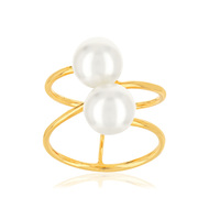 Bague or jaune 375 perles culture chine