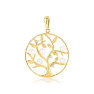 Pendentif or jaune 375 perle culture chine diamant