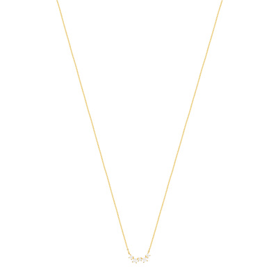 Collier or jaune 375 zirconias 42 cm - vue V1