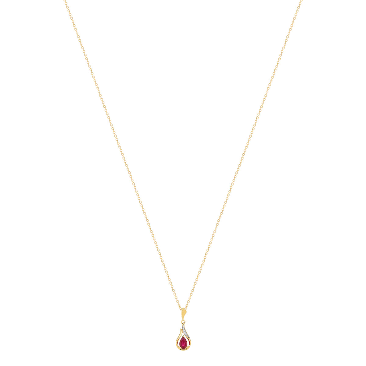 Collier or 375 2 tons rubis diamant - vue V1