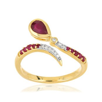 Bague or 375 2 tons rubis diamants