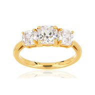 Bague or jaune 375 zirconia