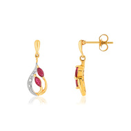 Boucles d'oreilles or 375 2 tons rubis diamant