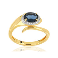 Bague or 375 2 tons saphir diamants