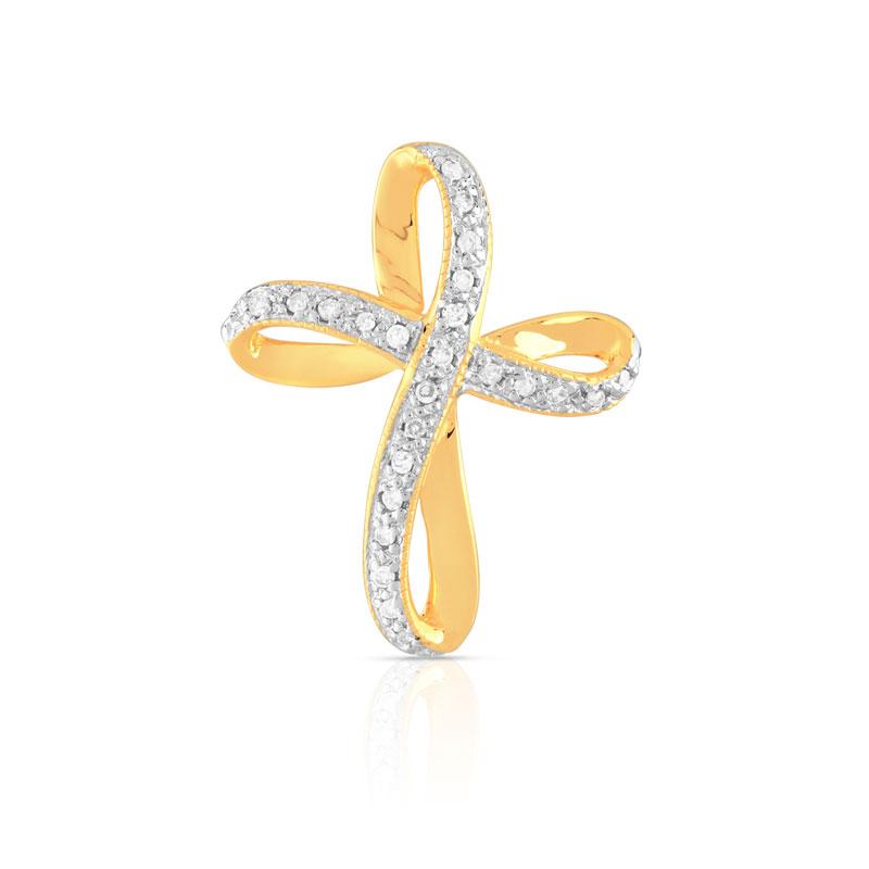 croix or 750 2 tons diamant femme croix maty. Black Bedroom Furniture Sets. Home Design Ideas