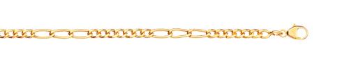 Chaine maille cheval alternée or 750 jaune 45 cm