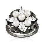 Bague argent 925 perle imitation cristal zirconia