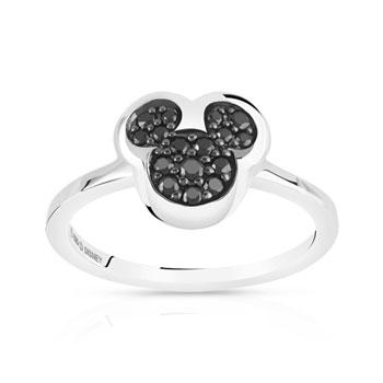 Bague Disney argent 925 zirconia noir