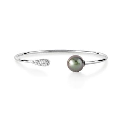 bracelet argent 925 perle de culture de tahiti et ziconia femme bracelet rigide maty. Black Bedroom Furniture Sets. Home Design Ideas