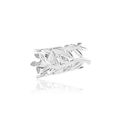 Charm's laurier argent 925 zirconia - vue V1