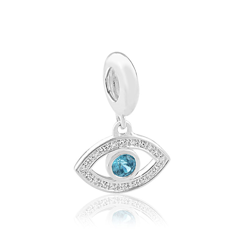 Charm's oeil argent 925 zirconia - vue V1