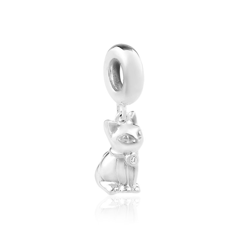 Charm's argent 925 zirconia chat - vue V1
