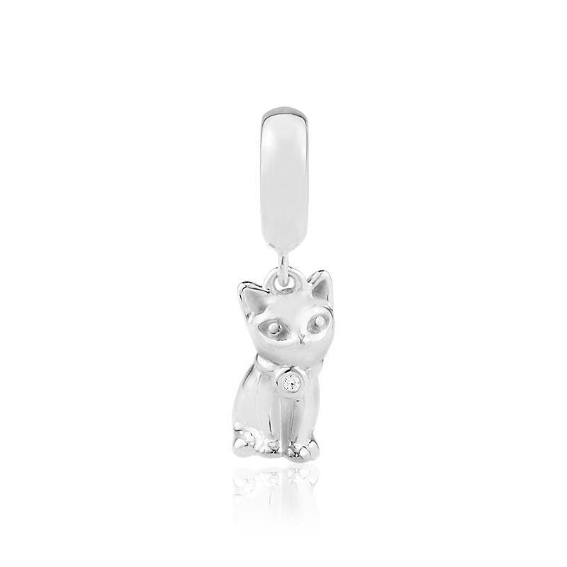 Charm's argent 925 zirconia chat - vue VD1