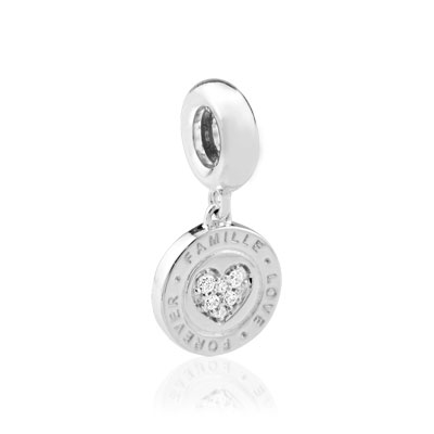 Charm's argent 925 zirconia médaille 'famille love forever' - vue 1