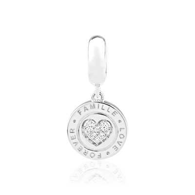Charm's argent 925 zirconia médaille 'famille love forever' - vue VD1