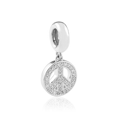 Charm's argent 925 zirconia peace and love - vue 1