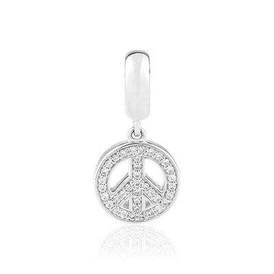 Charm's argent 925 zirconia peace and love - vue D1