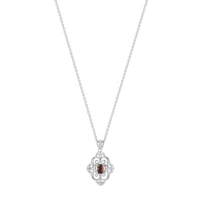 9255a7789c252 Collier argent 925 grenat zirconia 45 cm - Femme - Collier   MATY