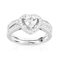 Duo solitaire alliance argent 925 zirconia