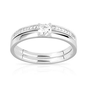 Duo alliance solitaire argent 925 zirconia