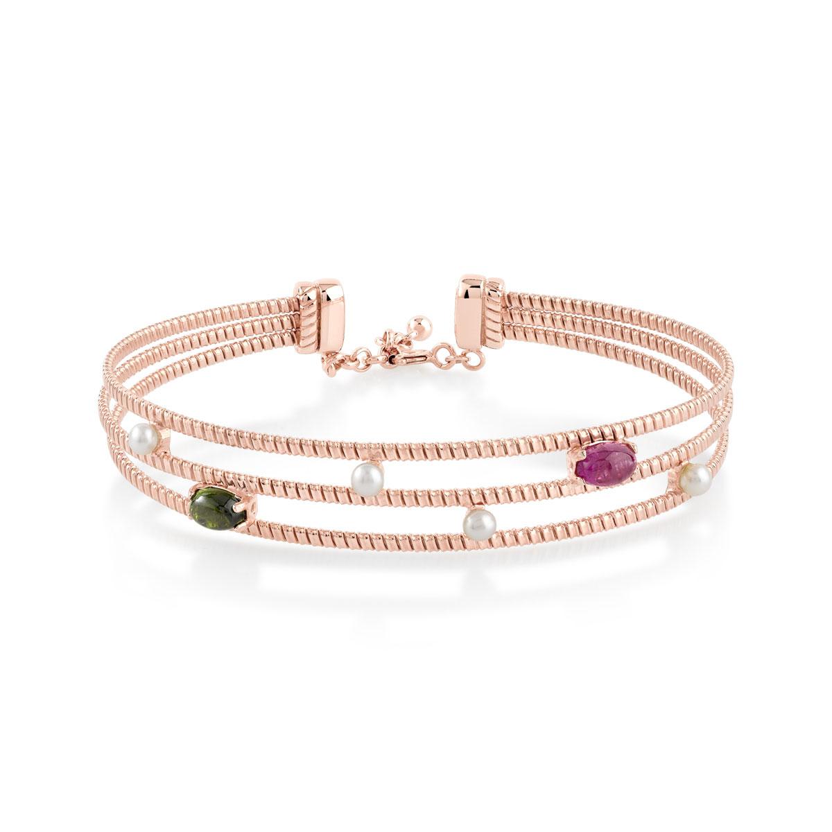 bracelet argent dor rose acier tourmalines perles femme bracelet rigide maty. Black Bedroom Furniture Sets. Home Design Ideas
