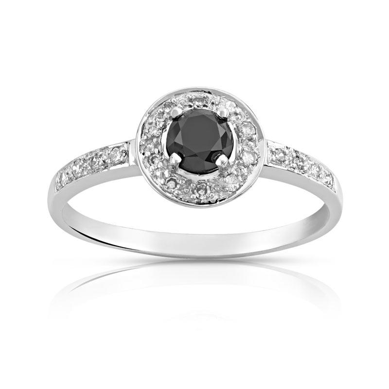 Bague or 750 blanc diamant noir et diamant blanc - vue 1