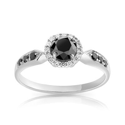 bague or 750 blanc diamant noir et diamant blanc femme. Black Bedroom Furniture Sets. Home Design Ideas