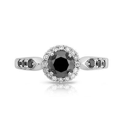 Souvent Bague or 750 blanc diamant noir et diamant blanc - Femme - Bague  OE51