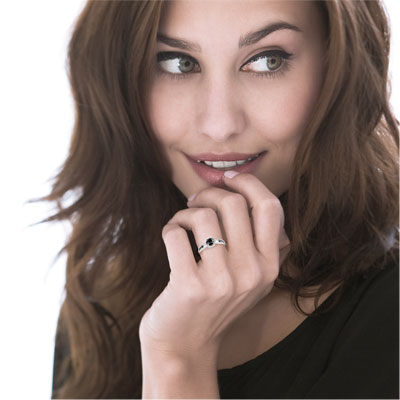 2776244139f Bague or 750 blanc diamant noir et diamant blanc - Femme - Bague