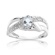 Bague or 750 blanc aigue-marine et diamant