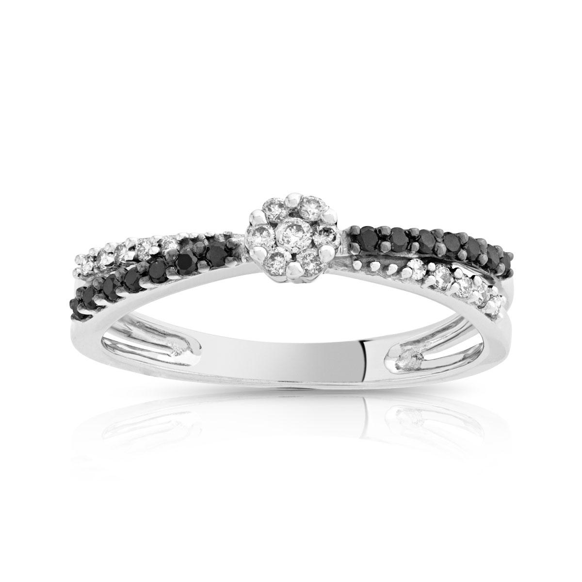 bague diamant noir et platine