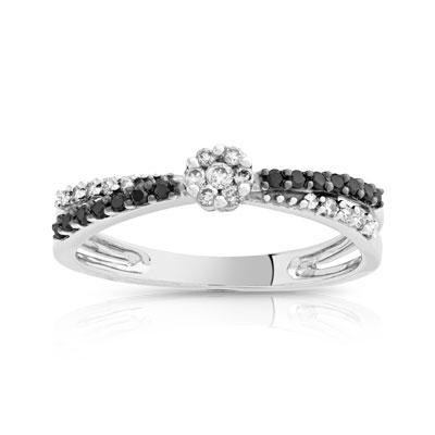 Très Bague or 750 blanc diamant noir et diamant blanc - Femme - Bague  ZY04