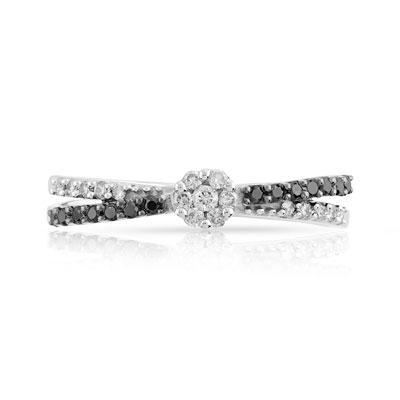 Super Bague or 750 blanc diamant noir et diamant blanc - Femme - Bague  AQ35