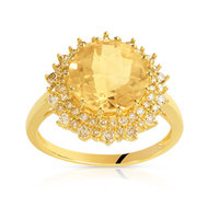 Bague or 750 jaune citrine et diamant ambré