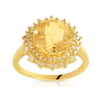 Bague or 750 jaune citrine et diamant ambré