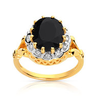 Bague or 750 2 tons saphir et diamant