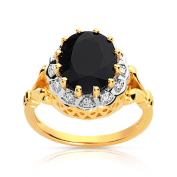 Bague or 750 2 tons saphir ovale et diamants