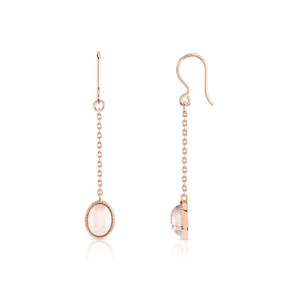 prix raisonnable nouvelles variétés choisir l'original Boucles d'oreilles plaqué or rose quartz
