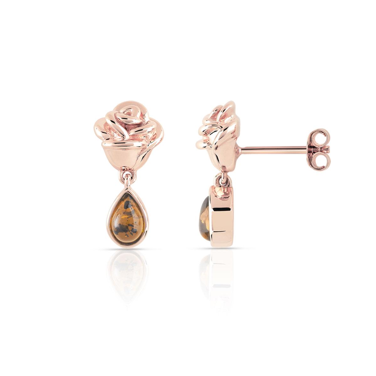les clients d'abord Meilleure vente chercher Boucles d'oreilles La Belle et la Bête plaqué or rose ambre disney