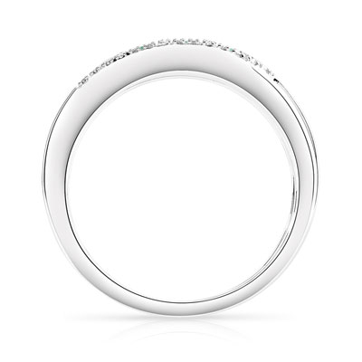 Bague or 750 blanc émeraude diamants - vue V2