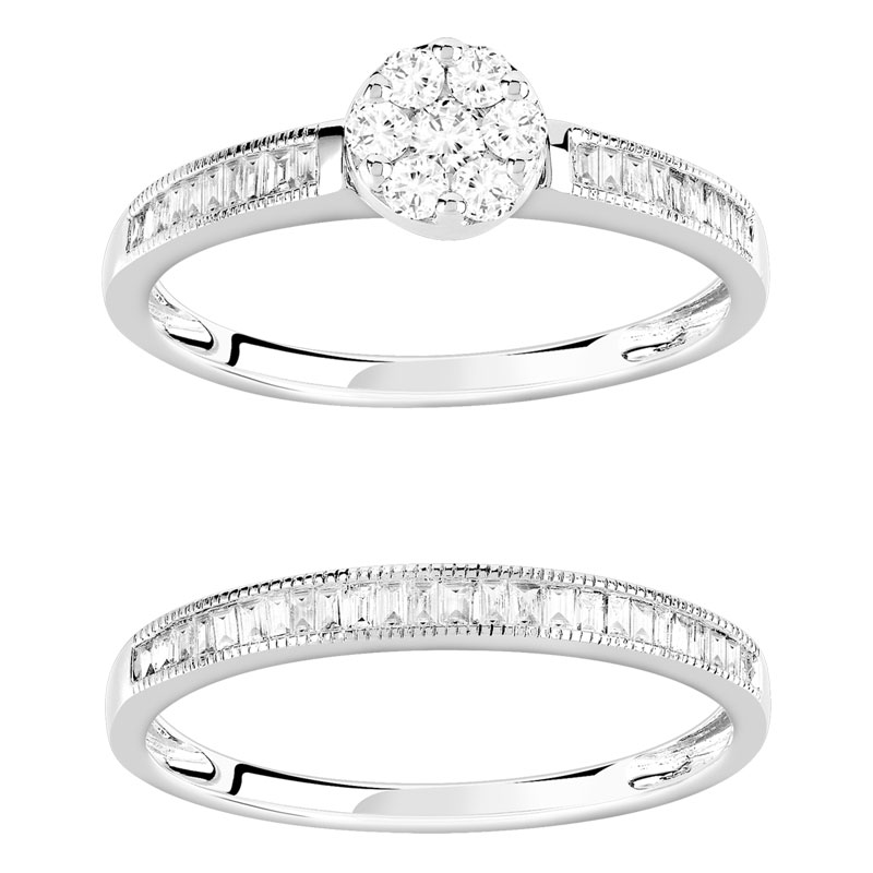 Bague et alliance 1/2 tour or 750 blanc diamant - vue VD1